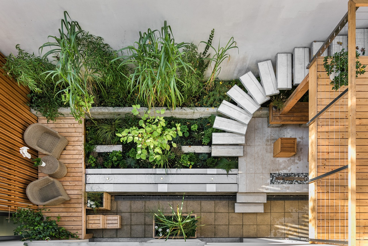 wooden deck with plants